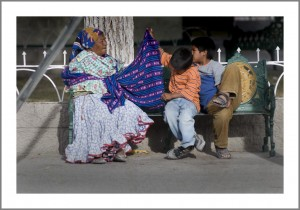Juarez, Plaza Zaragoza, La familia Tarahumara on the Park Bench